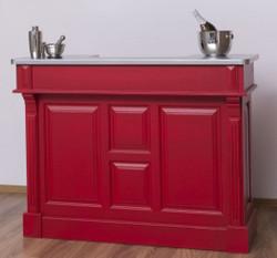 Casa Padrino Landhausstil Theke Rot / Silber 140 x 51 x H. 107 cm - Massivholz Thekentisch mit verzinkter Tischplatte - Möbel im Landhausstil