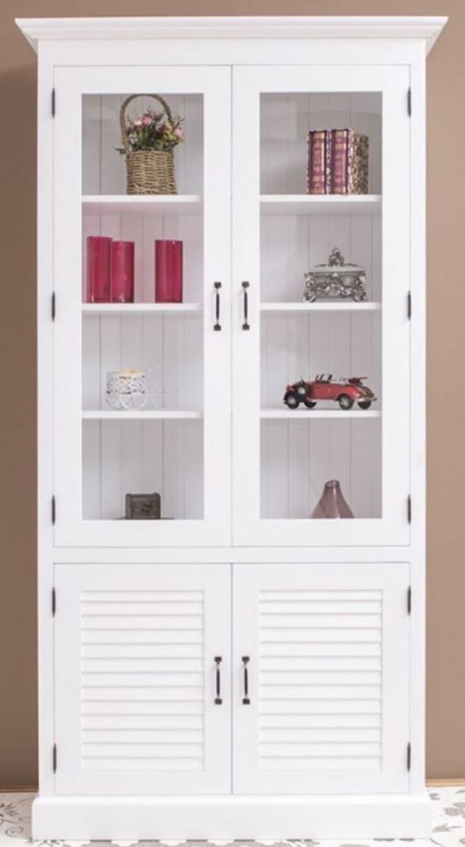 Casa Padrino Landhausstil Massivholz Schrank mit 4 Türen Weiß 64 x 39 x H. 210 cm - Regalschrank - Wohnzimmerschrank - Vitrinenschrank - Landhausstil Möbel 1