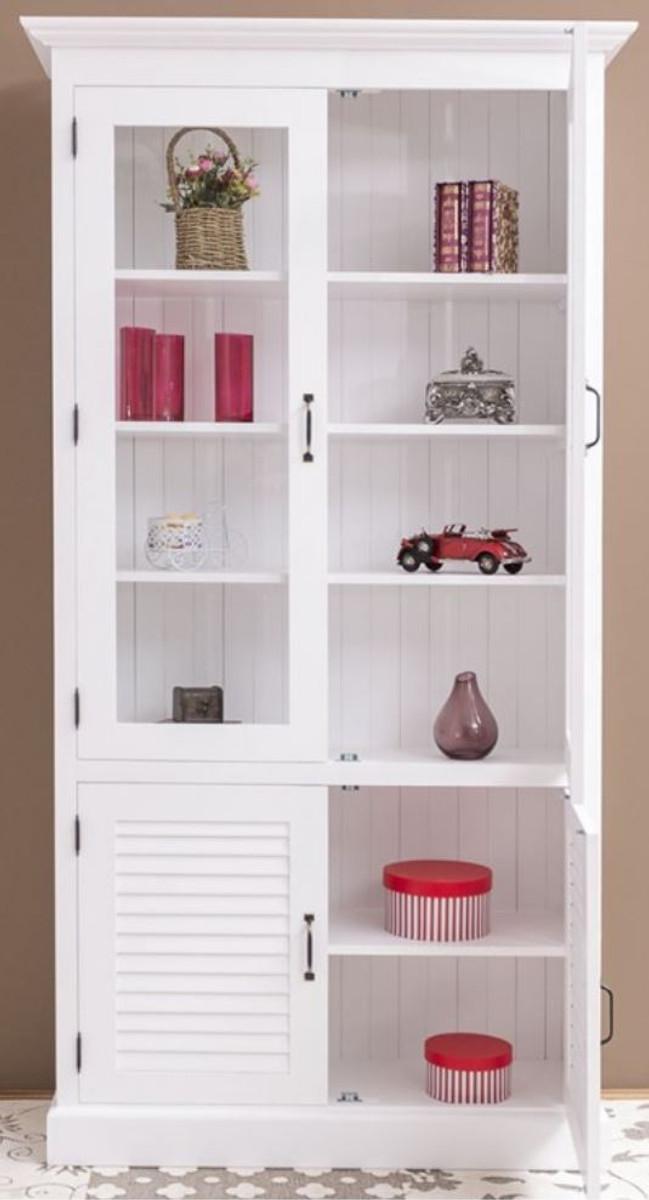 Casa Padrino Landhausstil Massivholz Schrank mit 4 Türen Weiß 64 x 39 x H. 210 cm - Regalschrank - Wohnzimmerschrank - Vitrinenschrank - Landhausstil Möbel 2