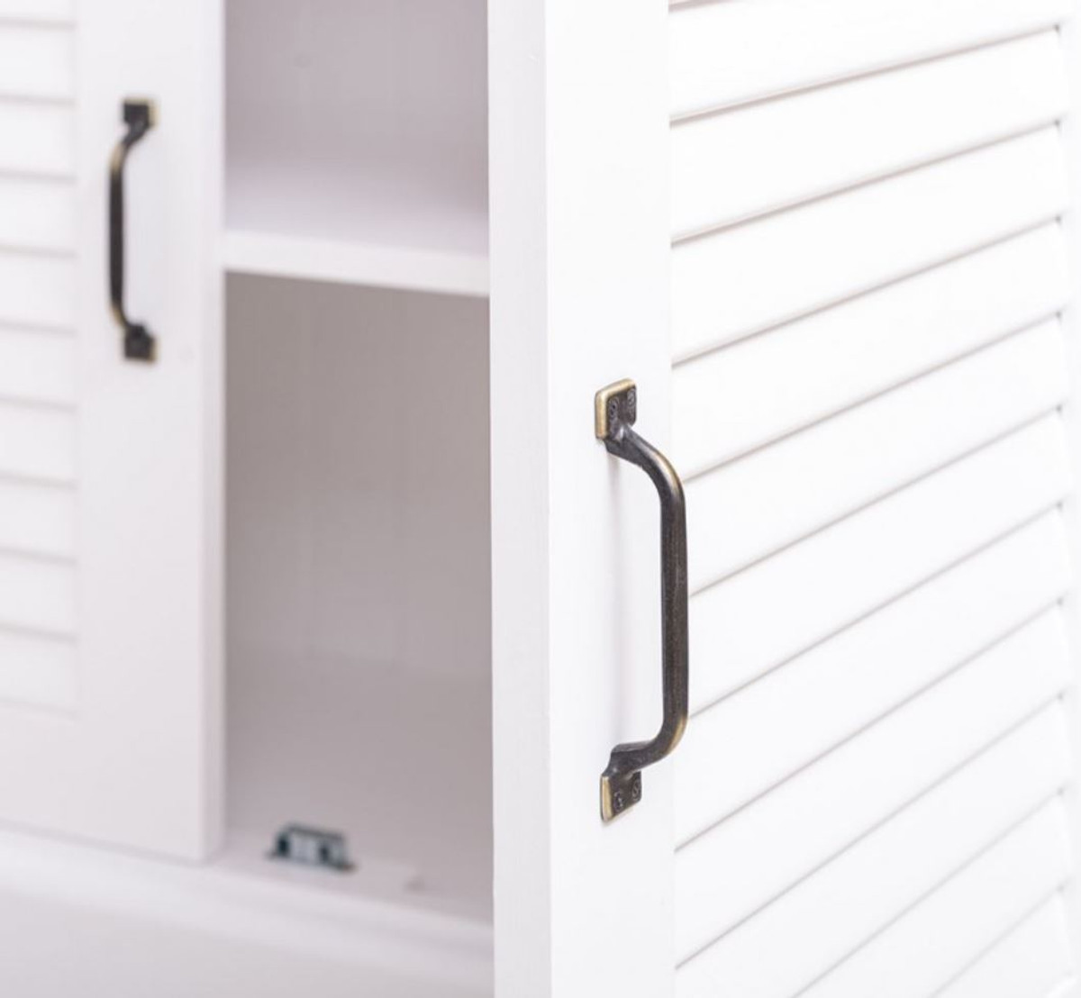 Casa Padrino Landhausstil Massivholz Schrank mit 4 Türen Weiß 64 x 39 x H. 210 cm - Regalschrank - Wohnzimmerschrank - Vitrinenschrank - Landhausstil Möbel 3