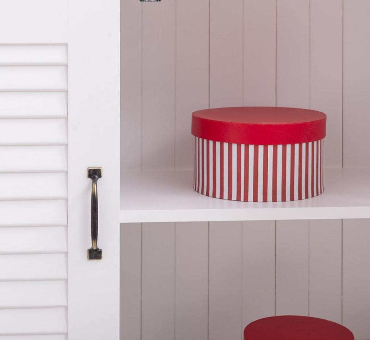 Casa Padrino Landhausstil Massivholz Schrank mit 4 Türen Weiß 64 x 39 x H. 210 cm - Regalschrank - Wohnzimmerschrank - Vitrinenschrank - Landhausstil Möbel 5