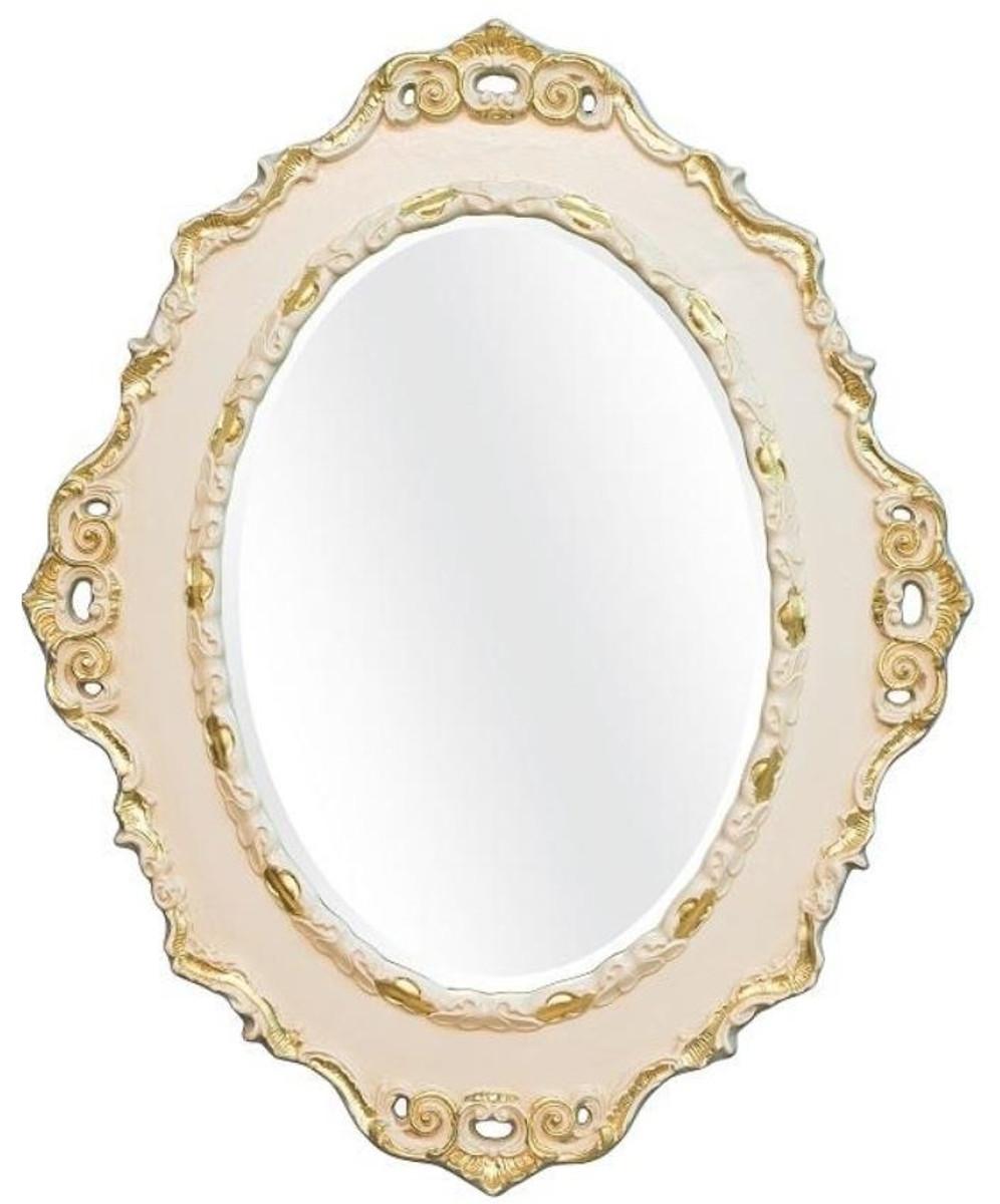 Casa Padrino Luxus Barock Wandspiegel Creme / Gold 84 x 4 x H. 104 cm - Ovaler Antik Stil Spiegel - Edel & Prunkvoll 1