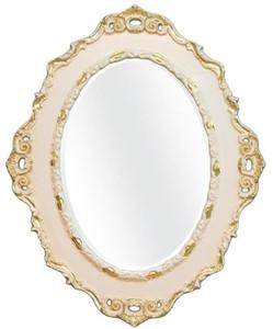 Casa Padrino Luxus Barock Wandspiegel Creme / Gold 84 x 4 x H. 104 cm - Ovaler Antik Stil Spiegel - Edel & Prunkvoll