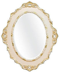 Casa Padrino Luxury Baroque Wall Mirror Cream / Gold 84 x 4 x H. 104 cm - Oval Antique Style Mirror - Precious & Magnificent