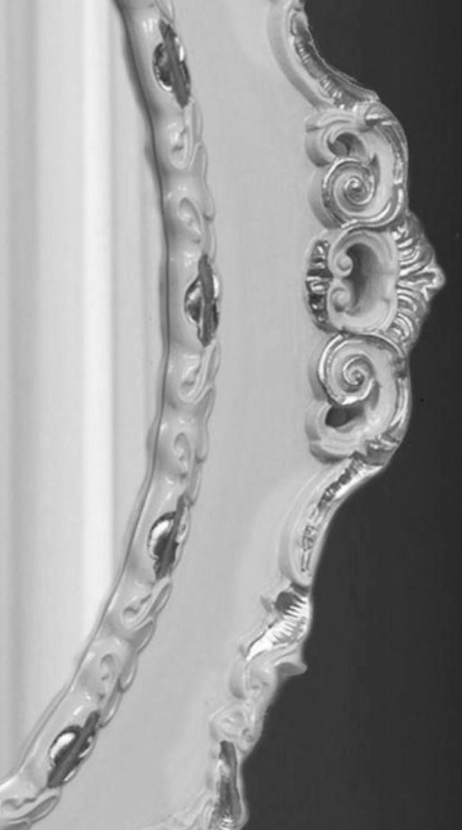 Casa Padrino Luxus Barock Wandspiegel Hellgrau / Silber 84 x 4 x H. 104 cm - Ovaler Antik Stil Spiegel - Edel & Prunkvoll 2
