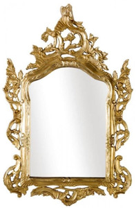 Casa Padrino Luxus Barock Wandspiegel Gold 82 x 6 x H. 128 cm - Prunkvoller Spiegel im Barockstil - Barock Möbel