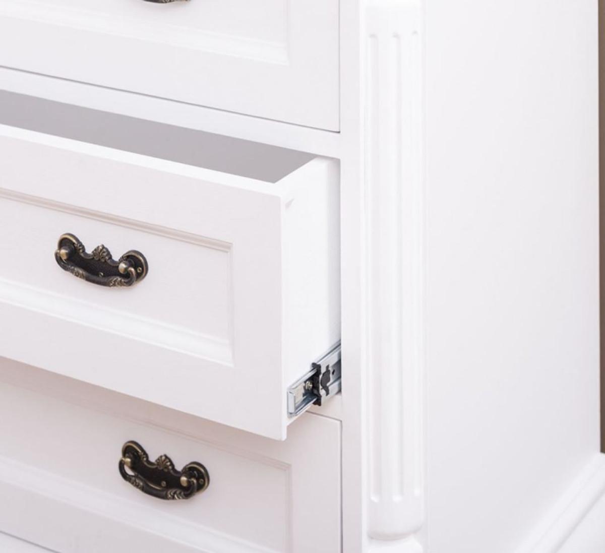 Casa Padrino Landhausstil Massivholz Kommode mit 3 Schubladen Weiß 110 x 48 x H. 89 cm - Landhausstil Möbel 4