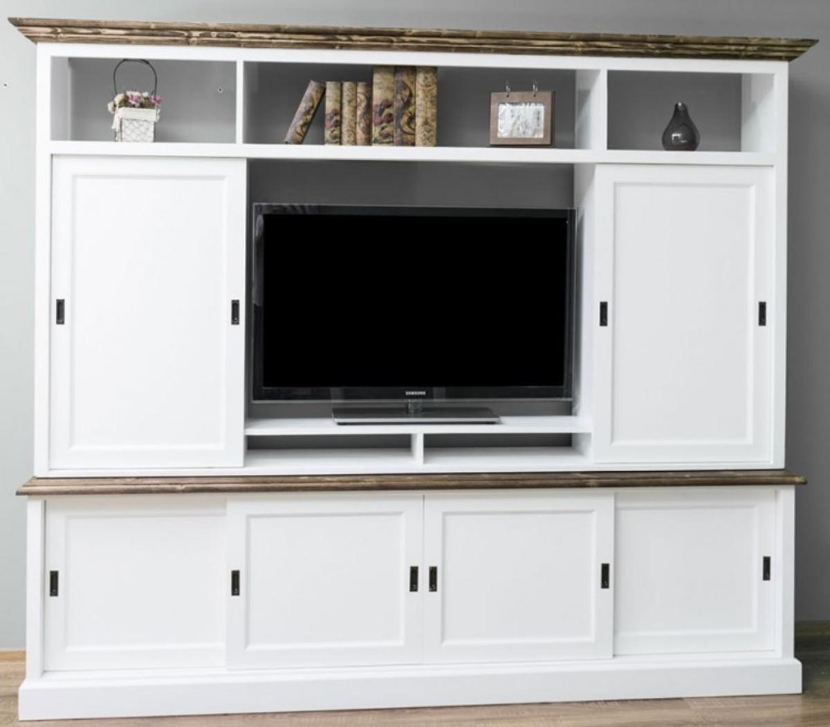Casa Padrino Landhausstil Fernsehschrank mit 6 Schiebetüren Weiß / Braun 254 x 46 x H. 210 cm - Massivholz TV Schrank - Wohnzimmerschrank - Landhausstil Wohnzimmermöbel 1