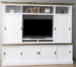 Casa Padrino Landhausstil Fernsehschrank mit 6 Schiebetüren Weiß / Braun 254 x 46 x H. 210 cm - Massivholz TV Schrank - Wohnzimmerschrank - Landhausstil Wohnzimmermöbel