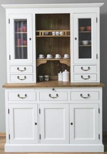 Casa Padrino Landhausstil Küchenschrank Weiß / Braun 137 x 50 x H. 197 cm - 2 Teiliger Küchenschrank mit 5 Türen und 7 Schubladen - Landhausstil Küchenmöbel