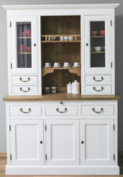Casa Padrino Country Style Kitchen Cabinet White / Brown 137 x 50 x H. 197 cm - 2 Piece Kitchen Cabinet with 5 Doors and 7 Drawers - Country Style Kitchen Furniture