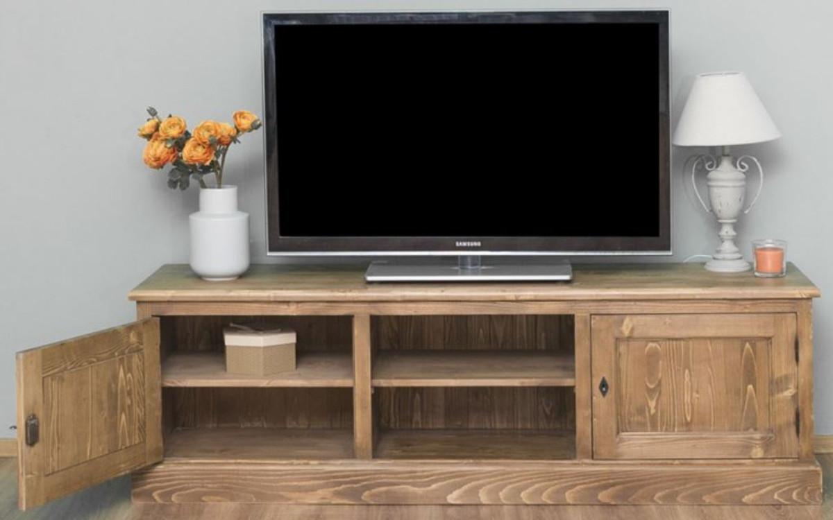 Casa Padrino Landhausstil Sideboard mit 2 Türen Braun 180 x 46 x H. 56 cm - Massivholz Fernsehschrank - Wohnzimmerschrank - Möbel im Landhausstil 2
