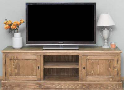 Casa Padrino Landhausstil Sideboard mit 2 Türen Braun 180 x 46 x H. 56 cm - Massivholz Fernsehschrank - Wohnzimmerschrank - Möbel im Landhausstil