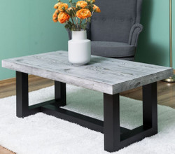 Casa Padrino Country Style Coffee Table Gray / Black 120 x 60 x H. 45 cm - Solid Wood Living Room Table - Living Room Furniture in Country Style