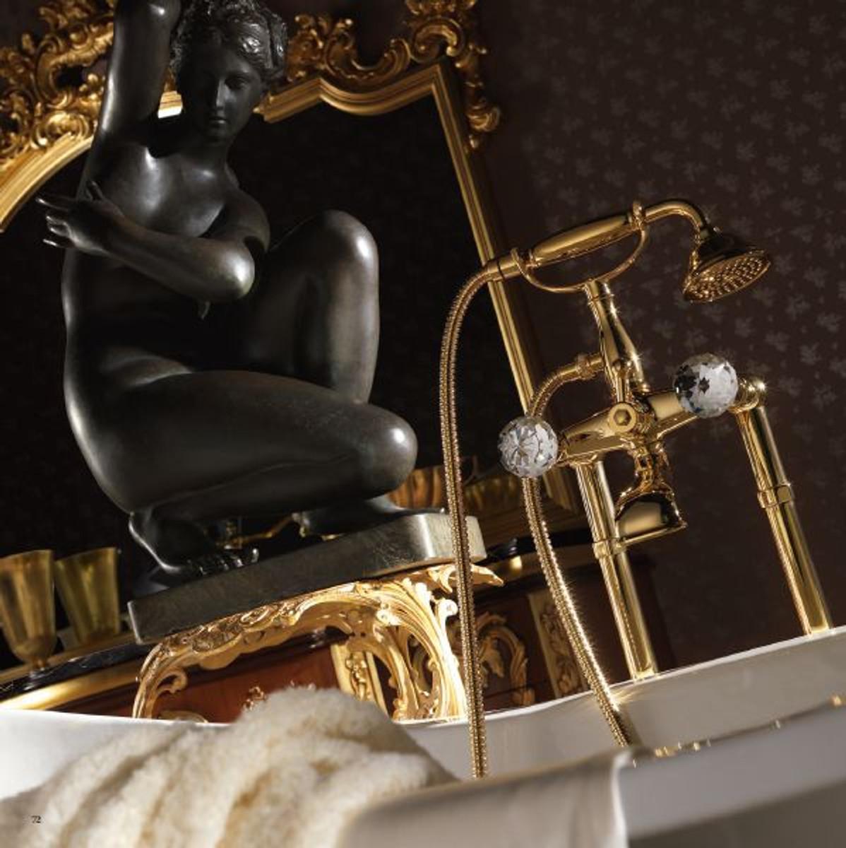 Casa Padrino Jugendstil Badewannen Armatur Gold H. 105,5 cm - Nostalgische Badezimmer Badewannen Armatur mit Brause und Standfüßen 3