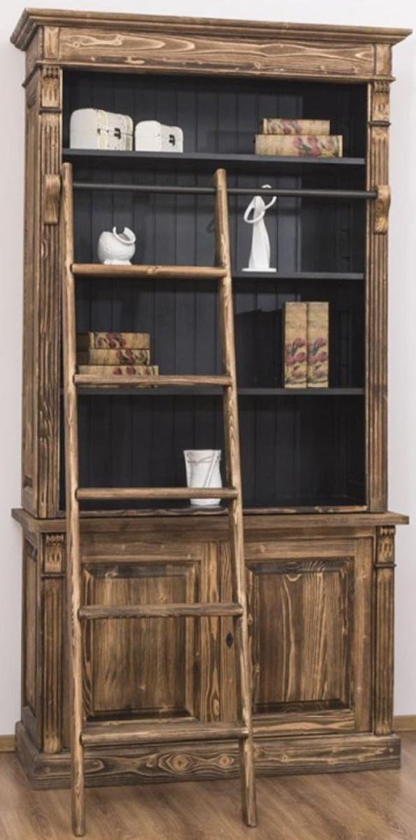 Casa Padrino Landhausstil Bücherschrank mit Leiter Braun / Schwarz 120 x 51 x H. 228 cm - Massivholz Schrank - Regalschrank - Wohnzimmerschrank - Büroschrank - Landhausstil Möbel 1