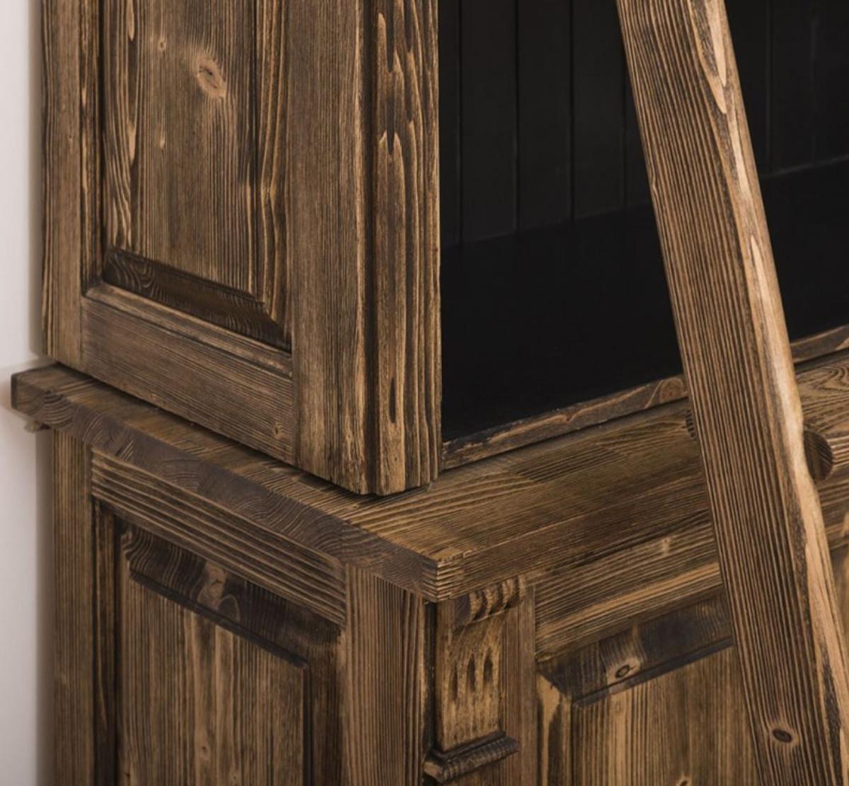Casa Padrino Landhausstil Bücherschrank mit Leiter Braun / Schwarz 120 x 51 x H. 228 cm - Massivholz Schrank - Regalschrank - Wohnzimmerschrank - Büroschrank - Landhausstil Möbel 3