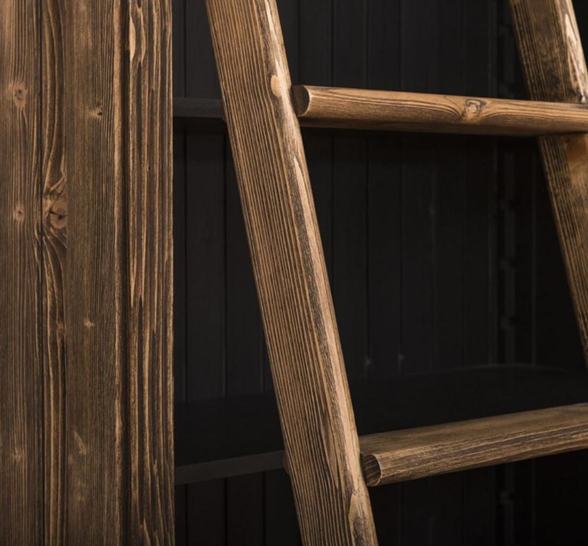 Casa Padrino Landhausstil Bücherschrank mit Leiter Braun / Schwarz 120 x 51 x H. 228 cm - Massivholz Schrank - Regalschrank - Wohnzimmerschrank - Büroschrank - Landhausstil Möbel 4