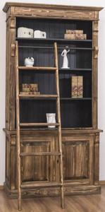 Casa Padrino Landhausstil Bücherschrank mit Leiter Braun / Schwarz 120 x 51 x H. 228 cm - Massivholz Schrank - Regalschrank - Wohnzimmerschrank - Büroschrank - Landhausstil Möbel