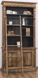Casa Padrino country style bookcase with ladder brown / black 120 x 51 x H. 228 cm - Solid Wood Cabinet - Shelving Cabinet - Living Room Cabinet - Office Cabinet - Country Style Furniture