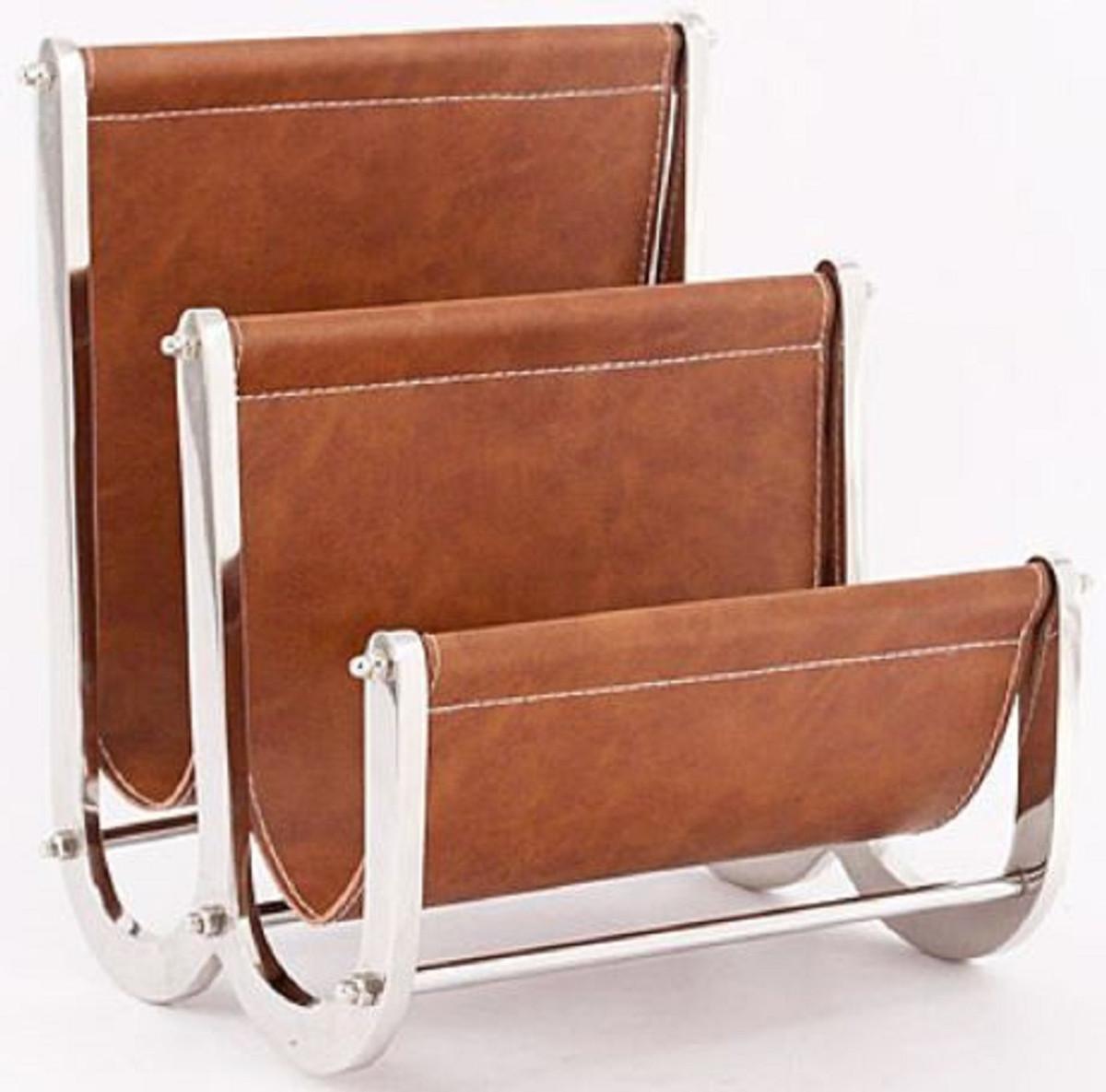 Aluminum Magazine Rack With Genuine Leather Luxury Accessories