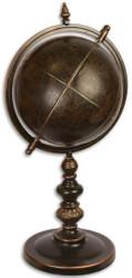 Casa Padrino Luxus Metall Globus mit Ständer Bronzefarben 30,7 x 35 x H. 72,8 cm - Schreibtisch Deko - Büro Deko - Wohnzimmer Deko