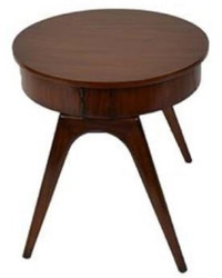 Casa Padrino luxury side table dark brown Ø 54 x H. 54 cm - Round Mahogany Table with 2 Drawers - Luxury Quality