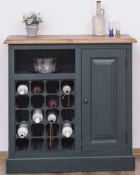 Casa Padrino country style wine cabinet with door gray blue / natural 90 x 41 x H. 90 cm - Country Style Furniture