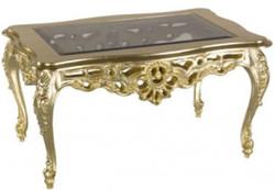 Casa Padrino Luxus Barock Couchtisch Gold 84 x 44 x H. 57 cm - Prunkvoller Wohnzimmertisch mit Glasplatte - Barock Wohnzimmer Möbel - Luxus Qualität - Made in Italy