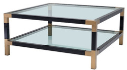 Casa Padrino luxury coffee table black / brass 100 x 100 x H. 45 cm - Living Room Table with Glass Top - Luxury Furniture
