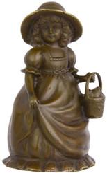Casa Padrino Jugendstil Tischglocke Mädchen mit Korb Bronze / Gold 7,1 x 6,5 x H. 12,4 cm - Tischklingel Service Glocke aus Bronze - Hotel & Gastronomie Accessoires