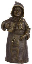 Casa Padrino Jugendstil Tischglocke trinkender Mönch Bronze / Gold 6,1 x 4,9 x H. 12,6 cm - Tischklingel Service Glocke aus Bronze - Hotel & Gastronomie Accessoires