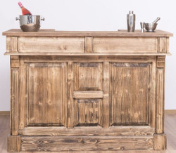 Casa Padrino country style bar counter brown 150 x 65 x H. 107 cm - Solid Wood Bar Counter with Door and 2 Drawers - Bar Furniture in Country Style