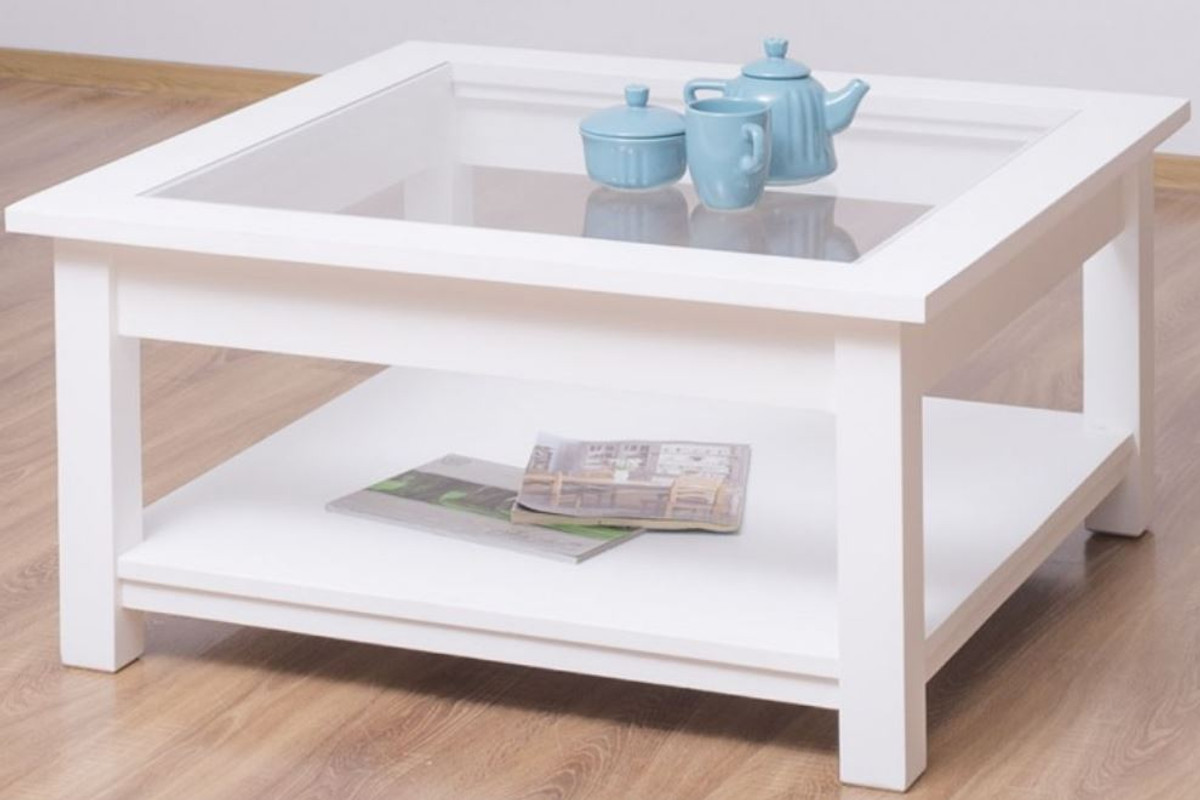 - Casa Padrino Country Style Coffee Table With Glass Top White 90 X