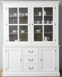 Casa Padrino Country Style Kitchen Cabinet White / Brown 179 x 47 x H. 225 cm - Solid Wood Kitchen Cabinet with 4 Doors and 3 Drawers - Country Style Kitchen Furniture