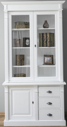 Casa Padrino country style solid wood cabinet with 3 doors and 3 drawers white 120 x 51 x H. 228 cm - Living Room Cabinet - Country Style Furniture