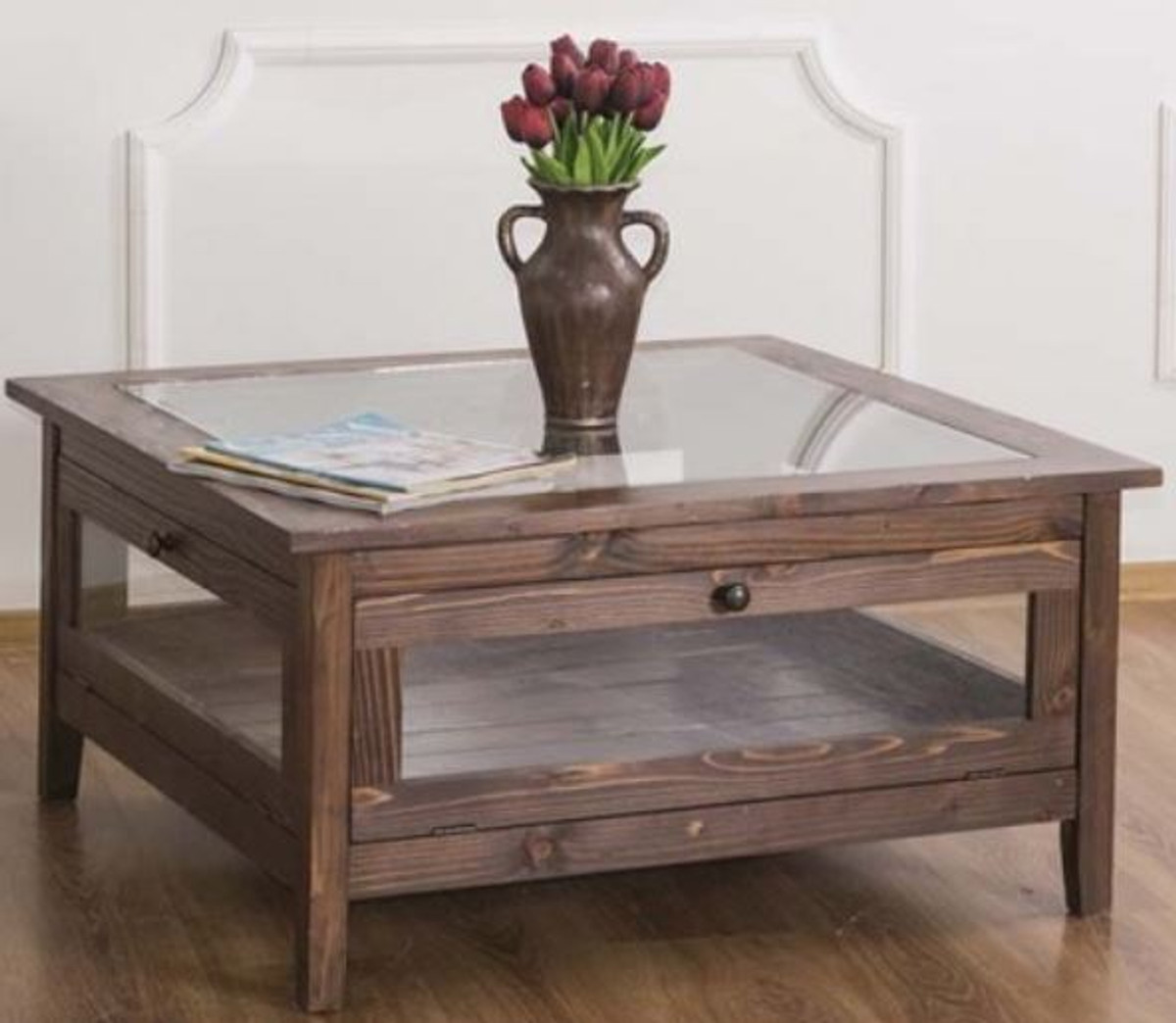 - Casa Padrino Country Style Coffee Table With Glass Top Brown 90 X