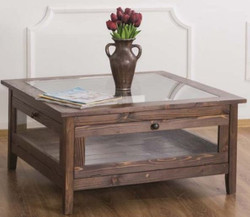 Casa Padrino Country Style Coffee Table with Glass Top Brown 90 x 90 x H. 45 cm - Solid Wood Living Room Table - Living Room Furniture in Country Style