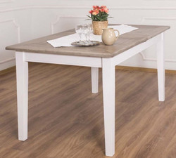 Casa Padrino country style dining table brown / white 160-200 x 90 x H. 78 cm - Solid Wood Kitchen Table with Extendable Oak Table Top