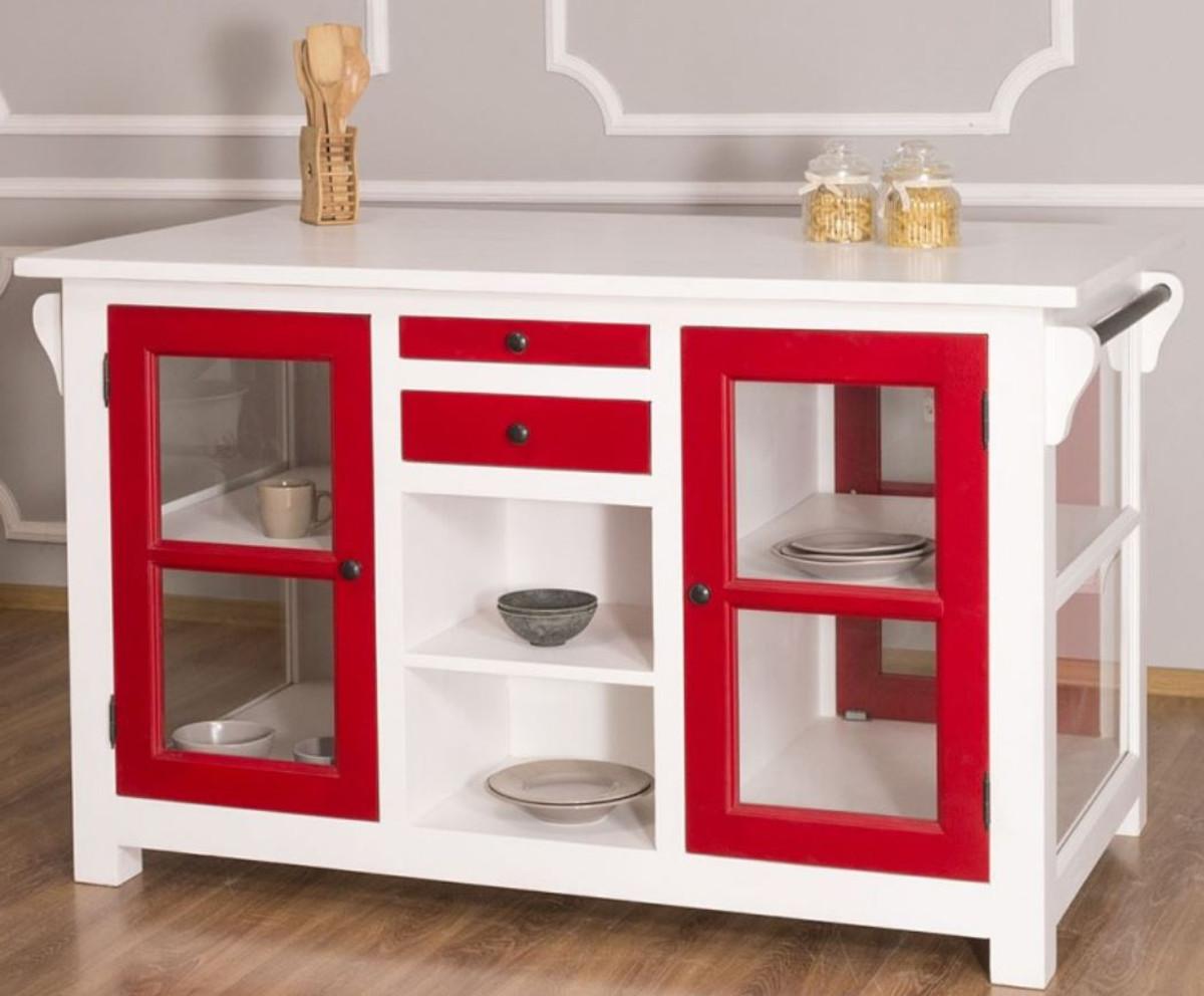 Casa Padrino Country Style Kitchen Island White Red 150 X 90 X H