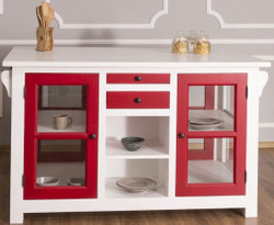 Casa Padrino country style kitchen island white / red 150 x 90 x H. 90 cm - Solid wood kitchen cabinet with 4 glass doors and 4 drawers - Country Style Kitchen Furniture