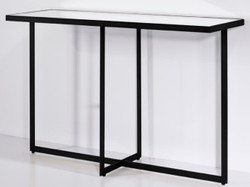 Casa Padrino Luxury Console Black 120 x 40 x H. 77 cm - Rectangular Metal Console Table with Mirror Glass - Living Room Furniture