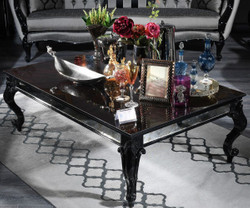 Casa Padrino Luxury Baroque Coffee Table Black 140 x 90 x H. 46 cm - Elegant Solid Wood Living Room Table with Glass Top and Mirror Glass - Luxury Quality - Made in Italy