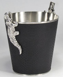 Casa Padrino Brass Wine Cooler with 2 Crocodile Handles Silver / Black 26 x 20 x H. 23 cm - Sparkling Wine Cooler - Champagne Cooler - Luxury Accessories