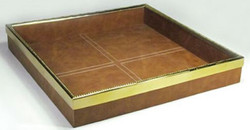 Casa Padrino Luxury Tray Brown / Gold 42 x 42 x H. 6.5 cm - Square Serving Tray with Leather - Gastronomy Accessories