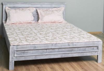 Casa Padrino Landhausstil Massivholz Bett Antik Grau 160 x 200 x H. 93 cm - Massivholz Doppelbett - Landhausstil Schlafzimmer Möbel – Bild 1