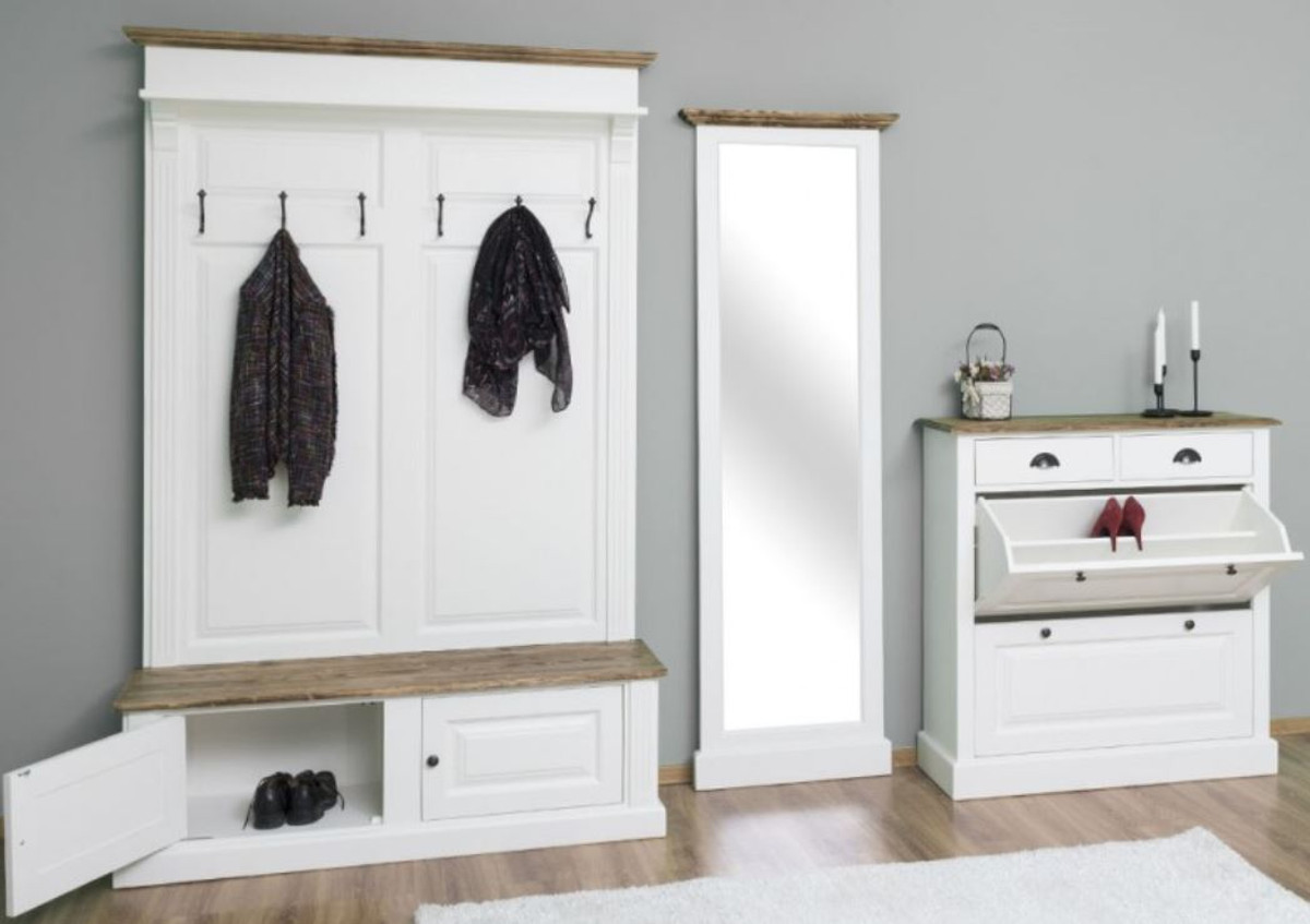 casa padrino country style solid wood wardrobe furniture set white brown wardrobe mirror shoe cabinet furniture in country style
