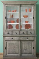 Casa Padrino Landhausstil Küchenschrank Grau / Weiß 142 x 48 x H. 225 cm - 2 Teiliger Schrank mit 4 Schiebetüren und 6 Schubladen - Landhausstil Küchenmöbel