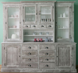 Casa Padrino Country Style Kitchen Cabinet Gray / White 244 x 47 x H. 225 cm - 2 Pieces Cabinet with 6 Doors and 12 Drawers - Country Kitchen Furniture