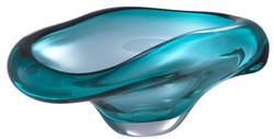 Casa Padrino Luxus Glasschale Türkis 22 x 14 x H. 10,5 cm - Designer Deko Schale - Obstschale aus mundgeblasenem Glas